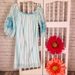 Aqua Turquoise & White Striped Tunic Top S NWT